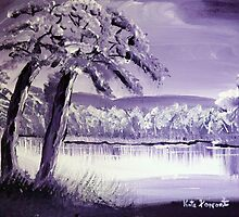 Impressionistic Purple Landscape by kreativekate