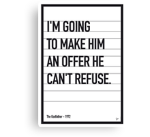 My Godfather Movie Quote poster Canvas Print