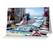 The little harbour of Riomaggiore Greeting Card