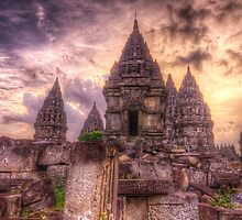 An Intense Sky Above A Temple At Prambanan by Jimmy McIntyre