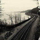 Train Tracks by the Hudson River by Amanda Vontobel Photography
