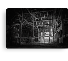 The Old Wooden Barn Black And White Canvas Print