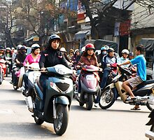 Wrong Way - Hanoi traffic, North Vietnam by Bev Pascoe