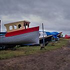 boats at cambois beach/2011 by cate murray