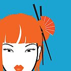 Girl with Orange Hair iPhone Cover by Evelyn Yee