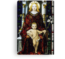 Stained glass window of the Madonna and Child Canvas Print