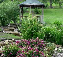 Gazebo In The Rose Garden by Carolyn  Fletcher