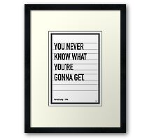 My Forrest Gump Movie Quote poster Framed Print