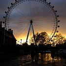 London Eye with the sky on fire by Themis