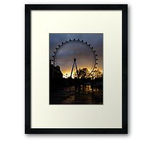 London Eye with the sky on fire Framed Print