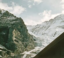 Eiger Glacier from train to Jungfrau  1957 09220026  by Fred Mitchell