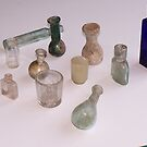 Roman bottles by Trowbridge  Museum