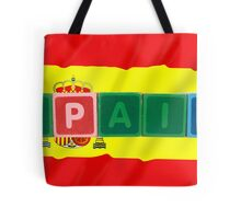 spain and flag in toy block letters Tote Bag