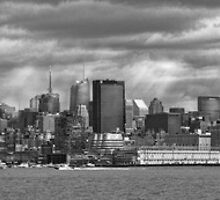 City - Skyline - Hoboken, NJ - The ever changing skyline - BW by Mike  Savad