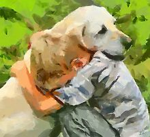 Yellow Lab with Child by doggylips