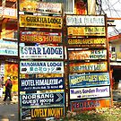 Guest house signs Pokhara Nepal by jbobo