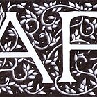 William Morris Inspired Monogram A F by Donna Huntriss
