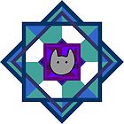 Geometricat - green and purple by Julia Marshall