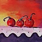 Opps only 3 cherries left, watercolor by Anna  Lewis