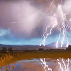 Lightning Striking Longs Peak Foothills 4 by Bo Insogna