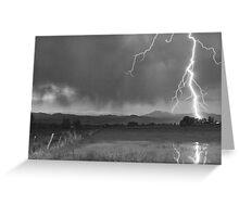 Lightning Striking Longs Peak Foothills 5BW Greeting Card