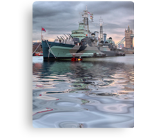 HMS Belfast At Twlight Metal Print