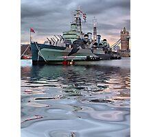 HMS Belfast At Twlight Photographic Print