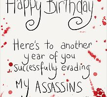 Assassins Birthday Card. by twisteddoodles