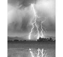 Lightning Striking Longs Peak Foothills 6CBW Photographic Print