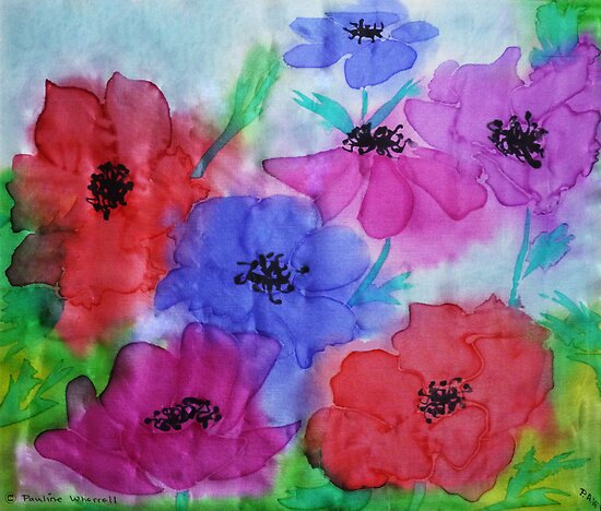 Anemones on silk by © Pauline Wherrell