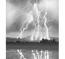 Lightning Striking Longs Peak Foothills  4CBW Photographic Print