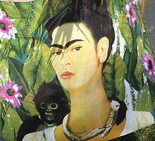 Drapery with Frida Kahlo Painting - Tela con Imagen de Frida Kahlo by PtoVallartaMex