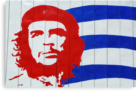 Che Guevara portrait and national Cuban flag by Sami Sarkis