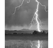 Lightning Striking Longs Peak Foothills  5CBW Photographic Print
