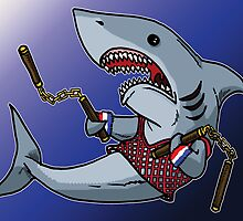 Shark with Nunchucks by hitdogdesigns