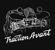 Citroën Traction Avant script emblem and subtle illustration by Robin Lund