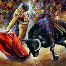 CORRIDA  - ORIGINAL OIL PAINTING BY LEONID AFREMOV by Leonid  Afremov