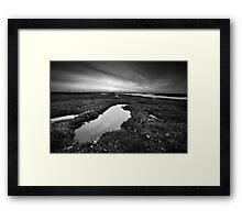 Salt Marsh Sunset BW Framed Print