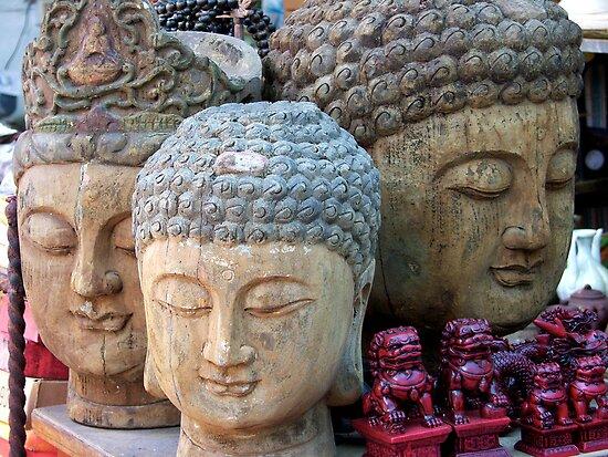 Three Buddha Heads, Stanley Market, Hong Kong by KUJO-Photo