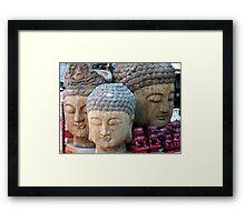 Three Buddha Heads, Stanley Market, Hong Kong Framed Print