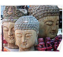 Three Buddha Heads, Stanley Market, Hong Kong Poster