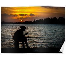 A lonely fisherman at sunset Poster