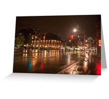 Queen And Soho On A Rainy Night Greeting Card