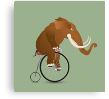 Mammoth on a bicycle Canvas Print