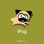 Tugg the Pug iPhone and iPod Case (Green) by boodapug