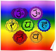 YOGA REIKI PLAIN SEVEN CHAKRA SYMBOLS RAINBOW TEMPLATE Poster