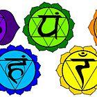 Yoga reiki seven chakra symbols horizontal template. by ernestbolds
