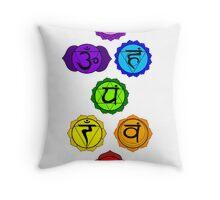 Yoga Reiki seven chakras symbols vertical template Throw Pillow