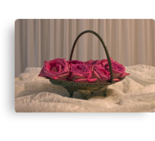 Tarnished Silver Basket Of Pink Roses Canvas Print