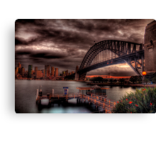 Sunset Sydney Harbour Bridge- VIVID Festival  Canvas Print